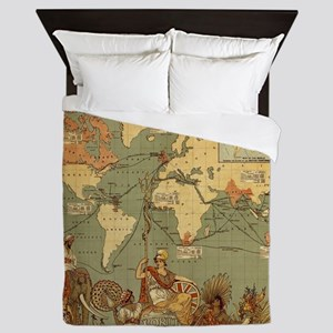 Antique World Map Vintage Earth Queen Duvet